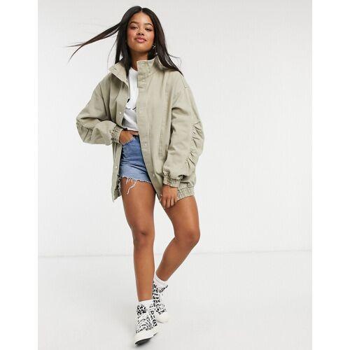 ASOS DESIGN – Oversize-Jacke im Stil der 80er mit gerafften Ärmeln, in Salbei-Lila 34