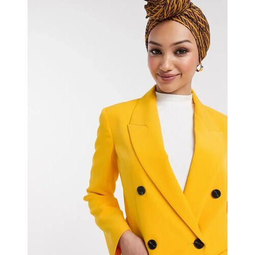 ASOS DESIGN – Pop – Taillierter Anzugblazer in Gelb 40