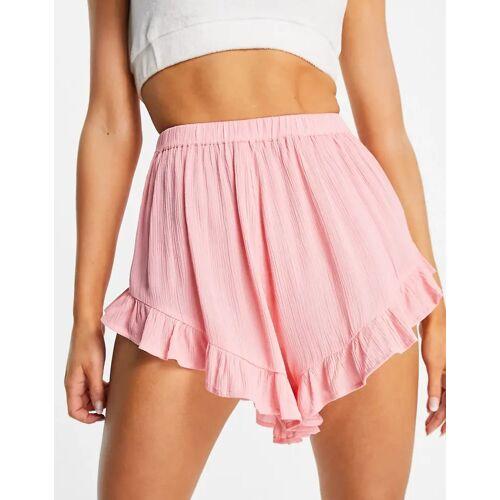 ASOS DESIGN – Strand-Shorts mit flatternder Rüsche und Knitteroptik in Rosa 32