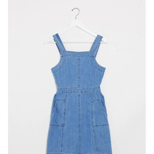 ASOS Tall ASOS DESIGN Tall – Kittelkleid aus weichem Denim in verwaschenem Mittelblau 46
