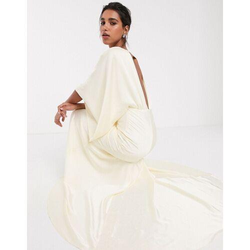 ASOS EDITION – Langes Kimono-Brautkleid mit tiefem Rückenausschnitt-Weiß 42