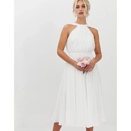 ASOS EDITION – Neckholder-Brautkleid in Midilänge mit V-Rückenausschnitt-Weiß 42