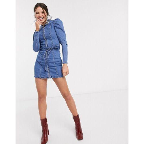Bershka – Blaues Jeanskleid mit Reißverschluss M