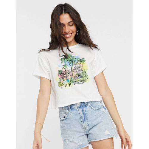 Bershka – Cuba – T-Shirt in Weiß S