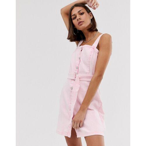 Bershka – Latzhosenkleid aus rosa Denim XS