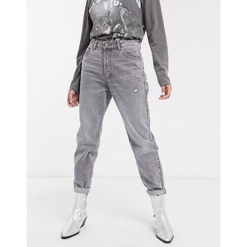 Bershka – Mom-Jeans in Grau 36