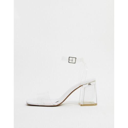 Bershka – Transparente Sandalen mit mittelhohem, transparentem Absatz-Gold 36