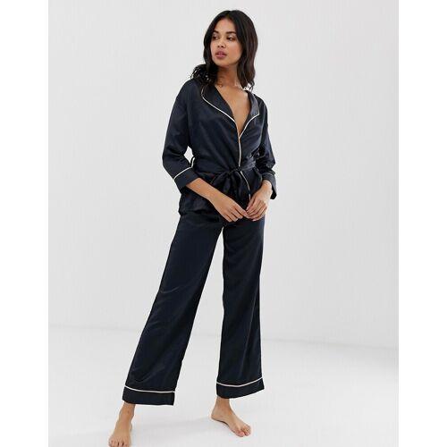 Bluebella – Wren – Satin-Pyjama mit Kimono-Oberteil-Schwarz 48