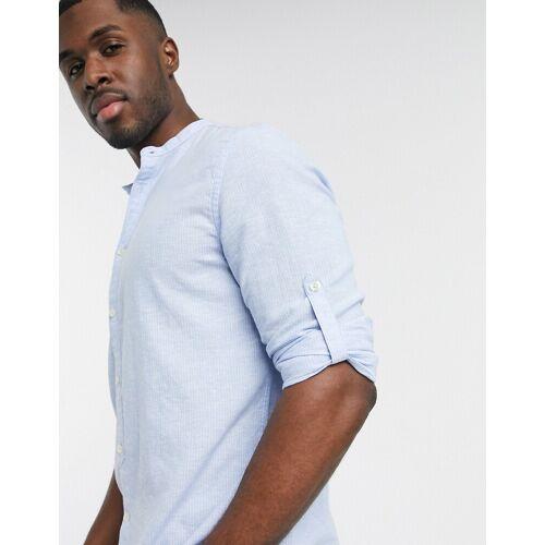Celio – Blau gestreiftes Hemd mit Henleykragen M