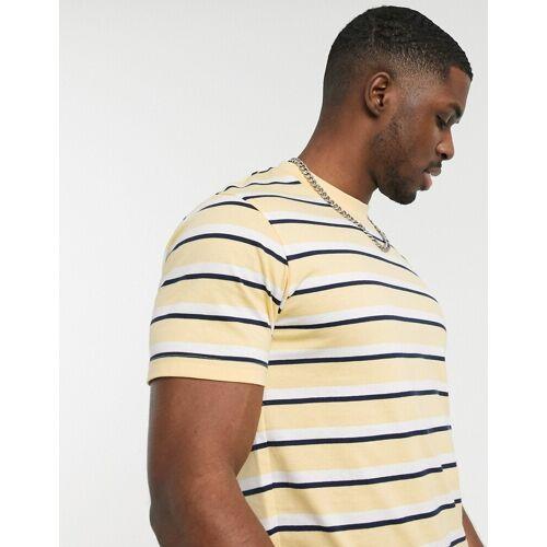 Celio – Gelbes T-Shirt mit Streifen M