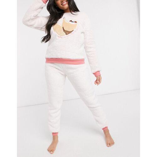 Chelsea Peers – Fleece-Pyjama mit Faultiermotiv-Creme M
