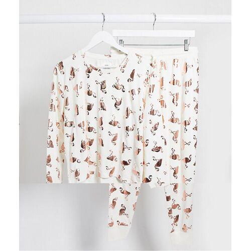 Chelsea Peers – Pyjama mit Flamingofoliendruck in Weiß L