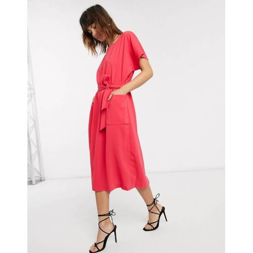closet london Closet – Kimonokleid mit Gürtel-Rosa 42