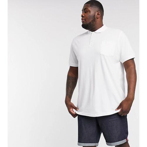 Duke Plus – Weißes Pikee-Polohemd mit Tasche 5XL
