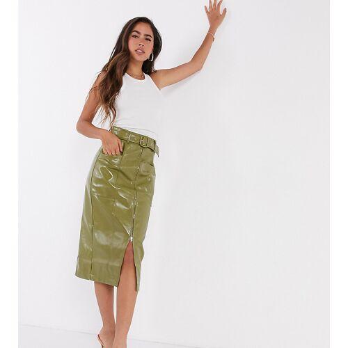 Fashion Union – Lack-Rock aus PU mit Gürtel-Grün 38