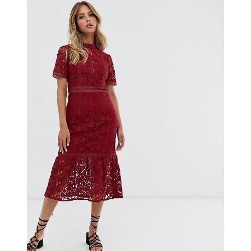 Forever New – Himbeerfarbenes Kleid mit Spitzenbahnen-Rot 40