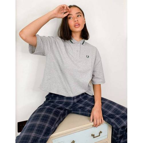 Fred Perry – Oversized-Pikee-Hemd in Grau 38