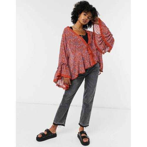 Free People – Lola – Kimono in Rot mit floralem Muster-Rosa XL