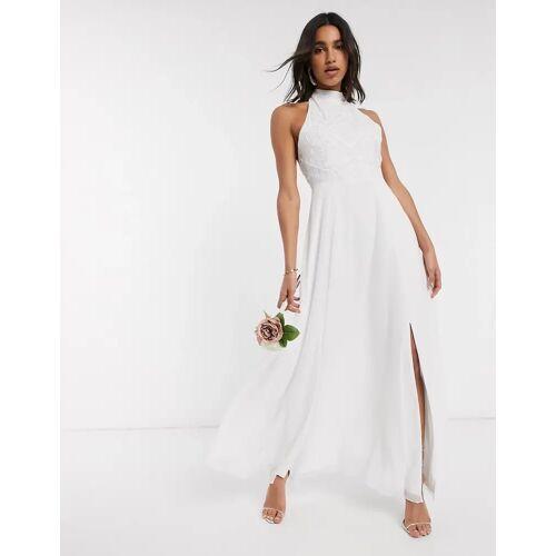 Frock And Frill Frock & Frill – Hochgeschlossenes, weißes Brautkleid mit Perlenverzierung 42