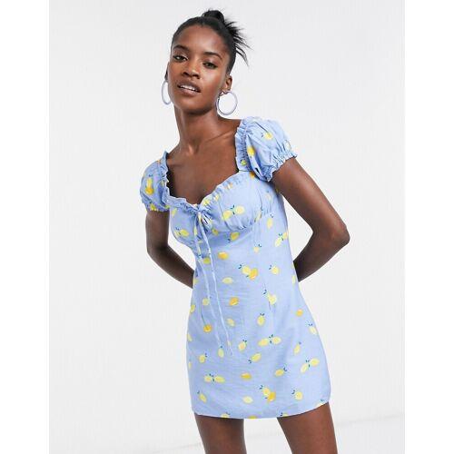 Glamorous– Minikleid mit geraffter Brustpartie und Zitronenprint-Blau 42