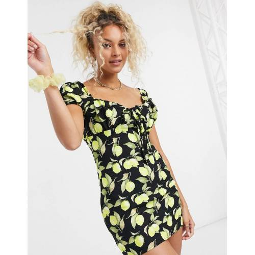Glamorous– Minikleid mit geraffter Brustpartie und Zitronenprint-Schwarz 40