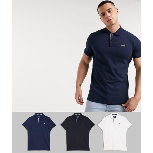 Hollister – Poloshirts in Weiß/Grau/Marine, 3er-Pack-Mehrfarbig XS