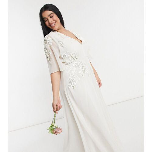 Hope & Ivy Plus – Maxi-Brautkleid mit tiefem Ausschnitt in Elfenbein-Weiß 50