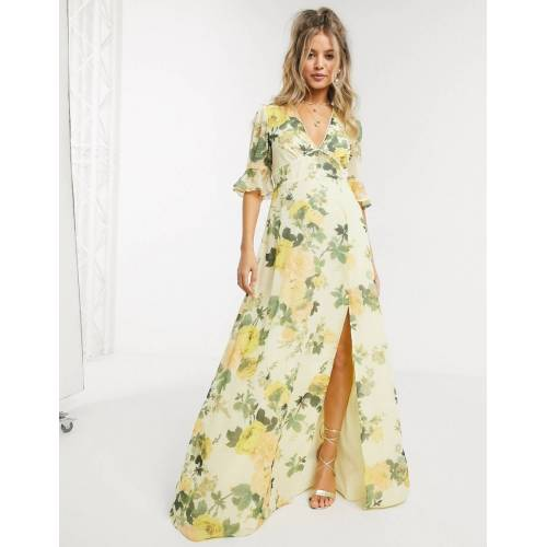 Hope & Ivy – Zitronengelbes Maxi-Freizeitkleid mit Blumenmuster-Mehrfarbig 42