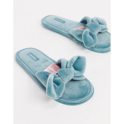 Hunkemoller – Blaue Damen-Hausschuhe aus Velours mit Knotendetail vorne 40-41