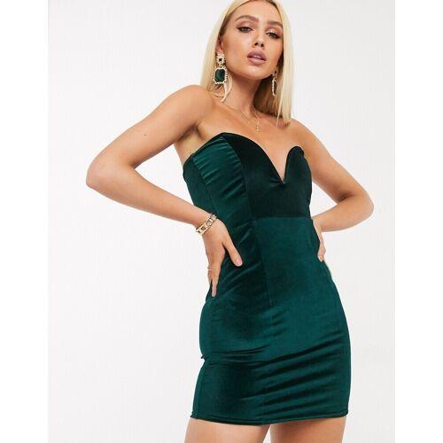 In The Style – Smaragdgrünes Mini-Samtkleid 40