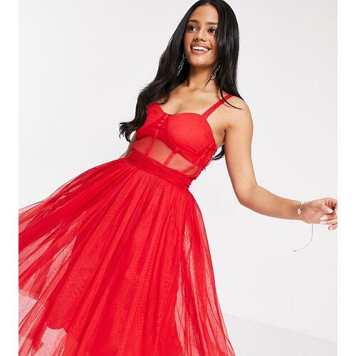 Lace & Beads – Exklusives, mittellanges Ballkleid mit durchsichtiger Organza-Taille in roter Korsett-Optik 34