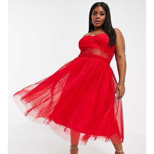 Lace & Beads Plus – Exklusives, mittellanges Ballkleid mit durchsichtiger Organza-Taille in roter Korsett-Optik 50