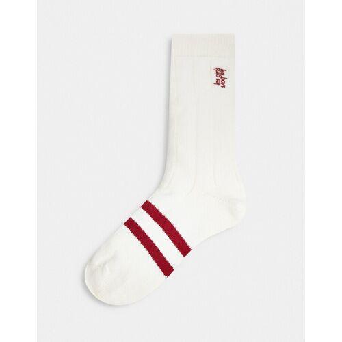 Les Girls Les Boys – Socken in Weiß und Rot mit Streifen und Logo M