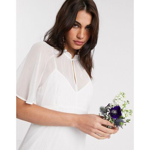 Maids to Measure – Langes Brautkleid aus Chiffon mit transparentem Cape-Weiß 44