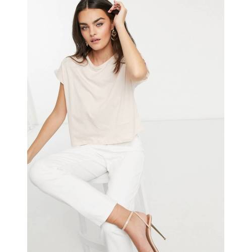 Mango – Lachsfarbenes, kastiges T-Shirt ausBio-Baumwolle-Rosa XL