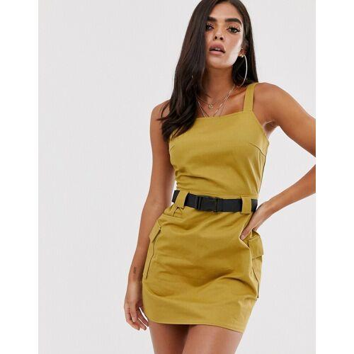 Missguided – Olivgrünes Utility-Kleid mit Gurtdetail-Schwarz 44