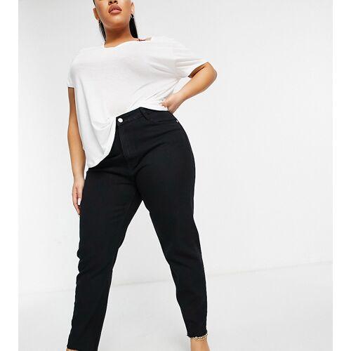 Missguided Plus – Riot – Jeans in Schwarz mit zerschlissenem Saum 44