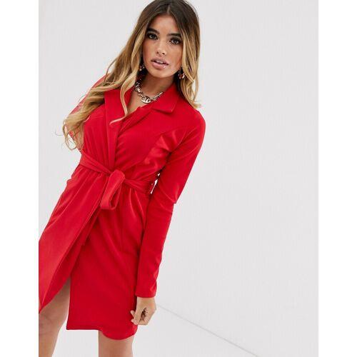 Missguided – Rotes Kleid im Smoking-Stil mit Gürtel 40
