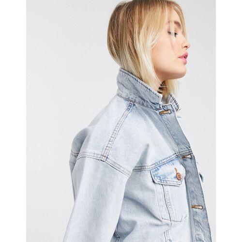 Monki – Lange Jeansjacke-Blau S