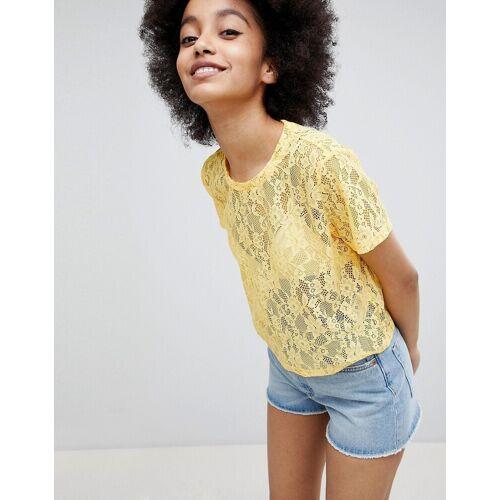Monki – T-Shirt aus Spitze-Gelb XS