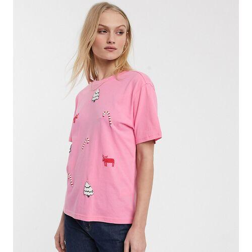 Monki – Weihnachtliches T-Shirt in Rosa XS