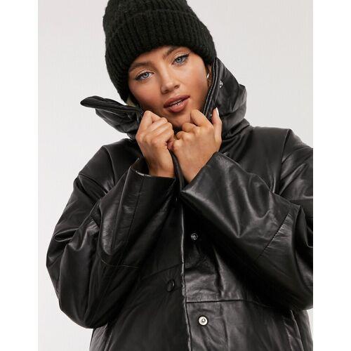 Muubaa – Gepolsterte schwarze Lederjacke im Bomber-Stil 34