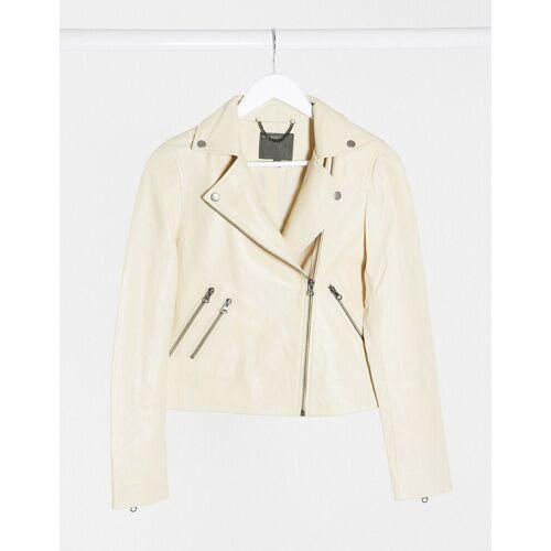 Muubaa – Klassische Lederjacke in Creme-Weiß 40