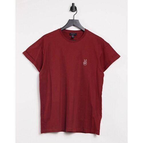 New Look – Dunkelrotes T-Shirt mit Peacezeichen-Skizze-Stickerei-Grau XS