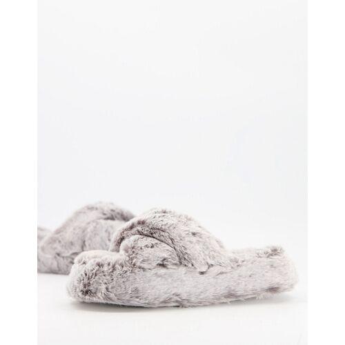 New Look – Flauschige Hausschuhe in Grau M