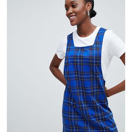 New Look – Kariertes Kittelkleid mit seitlichen Knöpfen-Blau 38