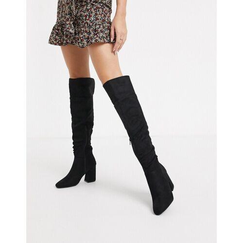 New Look – Overknee-Stiefel aus Wildlederimitat mit Absatz in Schwarz 38