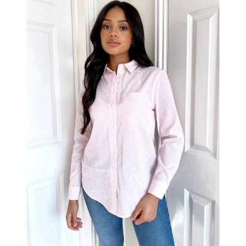 New Look – Rosa Hemd mit Streifen und Tasche 40