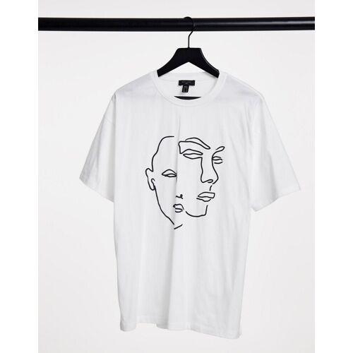 New Look – T-Shirt in Weiß mit Gesichtsskizze XS
