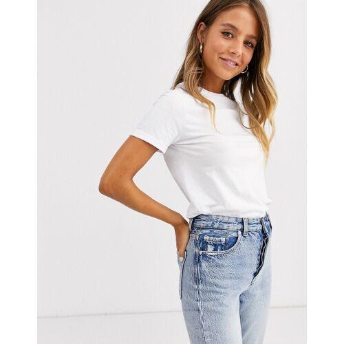 New Look – Weißes Bio-T-Shirt mit gerollten Ärmeln 42